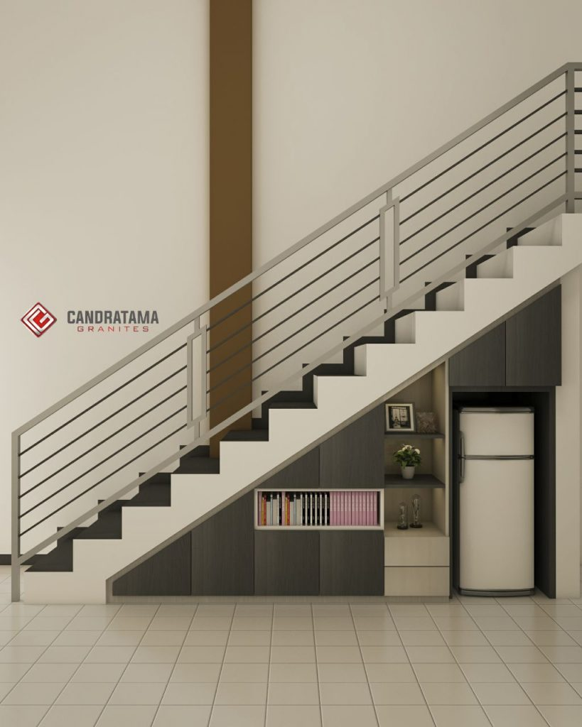 lemari buku bawah tangga
