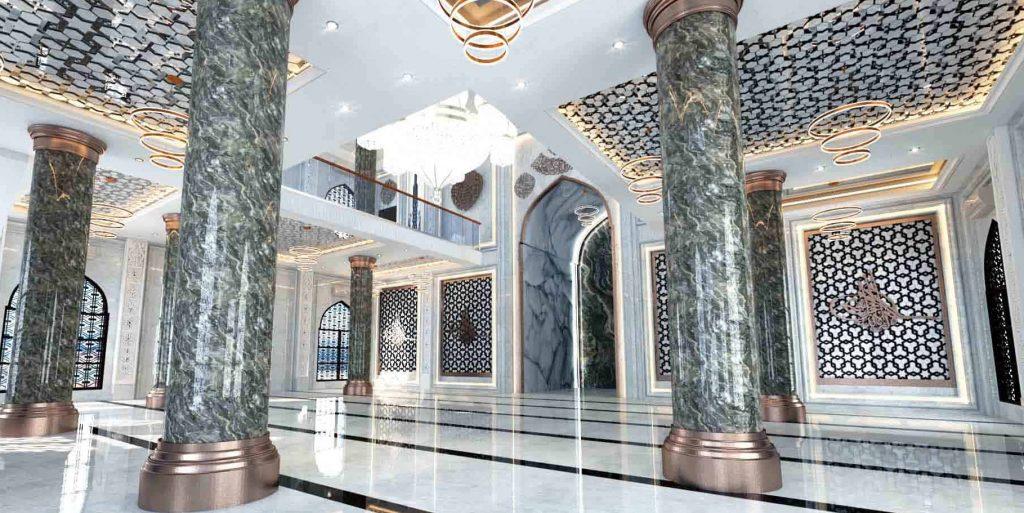 dinding masjid material granit
