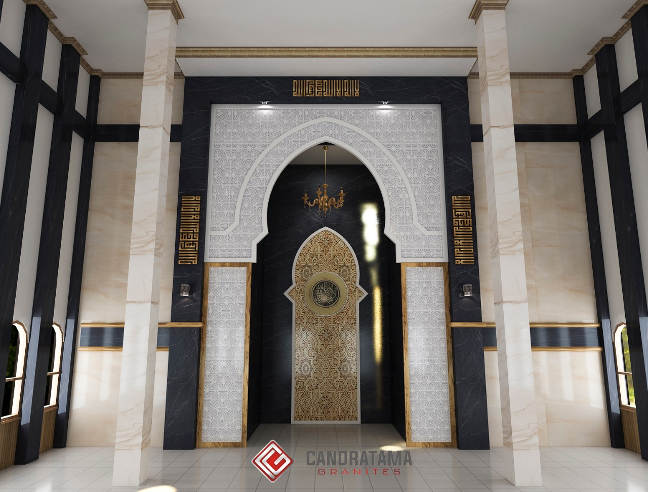 MODEL MASJID TERBARU DENGAN MATERIAL GRANIT dinding masjid granit MEMPERINDAH INTERIOR jual lantai masjid murah granit marmer