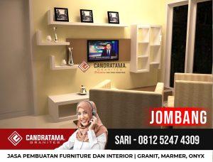 JASA DESAIN INTERIOR BACKDROP RAK TV MINIMALIS MODERN JOMBANG CANDRATAMA GRANITES Hub Sari 0812 5247 4309