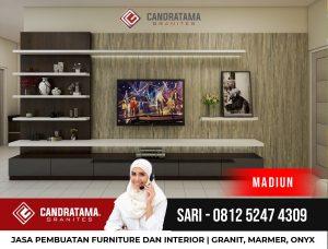 JASA DESAIN INTERIOR BACKDROP RAK TV MINIMALIS MODERN MADIUN CANDRATAMA GRANITES Hub Sari 0812 5247 4309