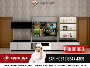 JASA DESAIN INTERIOR BACKDROP RAK TV MINIMALIS MODERN PONOROGO CANDRATAMA GRANITES Hub Sari 0812 5247 4309
